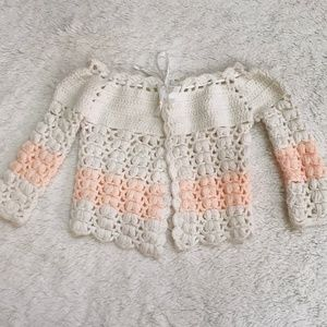 Vintage white and peach crochet sweater